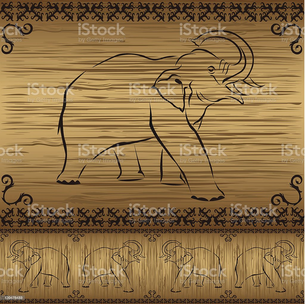 Seamless border with elephants and asian pattern on wooden background royalty-free seamless border with elephants and asian pattern on wooden background stock vector art & more images of animal