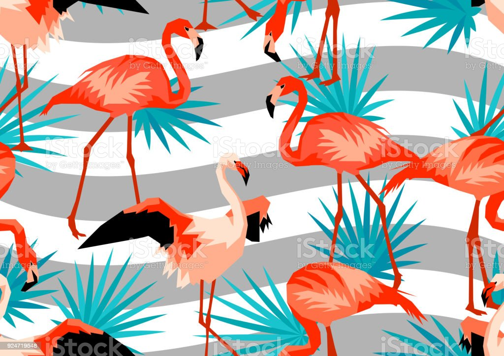 seamless border with flamingo tropical bright abstract birds and