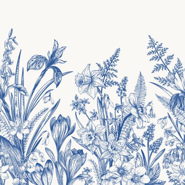 Seamless border with flowers. vector art illustration