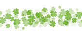 Seamless border with fourleaf clover and sparkle. St.Patricks Day. Vector element for covers, frames and your design