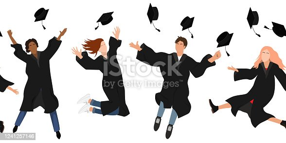 istock Seamless border with happy graduate students in graduation clothing jumping and throwing the mortarboard high into the air. Flat vector pattern isolated on white. 1241257146