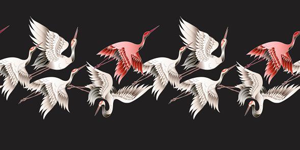Seamless border with Japanese white crane in batik style. Vector illustration.