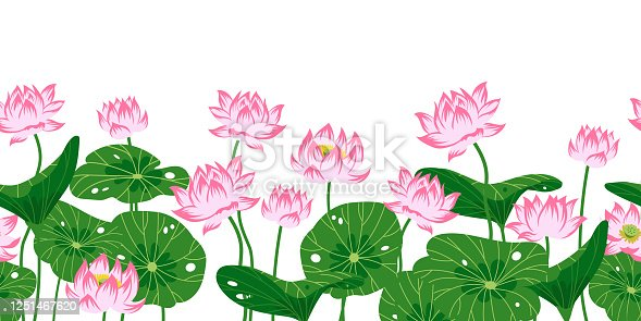 istock Seamless border with pink lotuses 1251467620