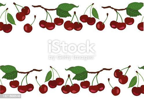 istock seamless border with red cherries, cherry isolated on white. 1321866546