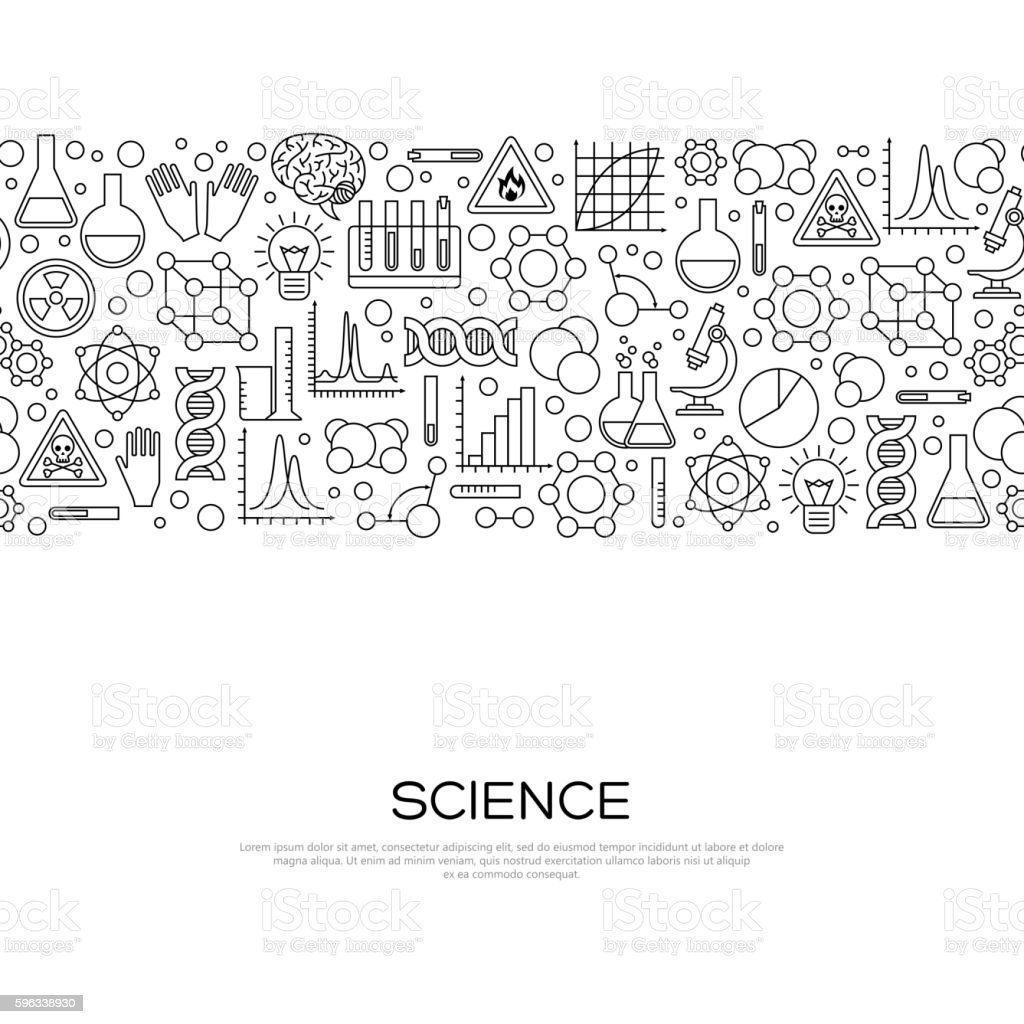 Seamless Border with Science Black Line Icons vector art illustration