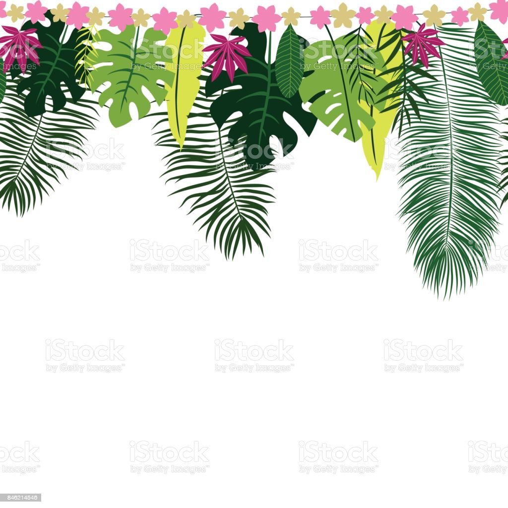 Seamless Border With Tropical Leaves Stock Illustration Download Image Now Istock Leaves border fall leaves border summer border tree branch with leaves tree black and white no leaves fall leaf border. seamless border with tropical leaves stock illustration download image now istock