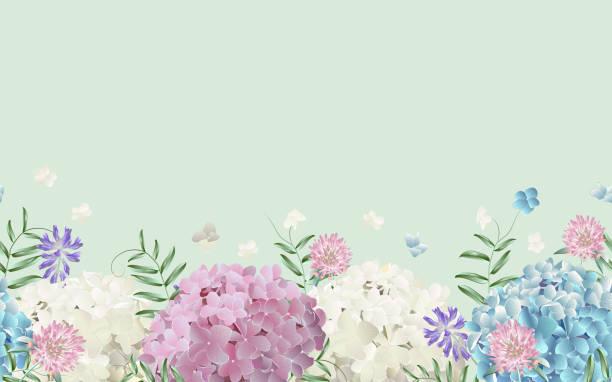 stockillustraties, clipart, cartoons en iconen met naadloze grens met wilde bloemen. - hortensia
