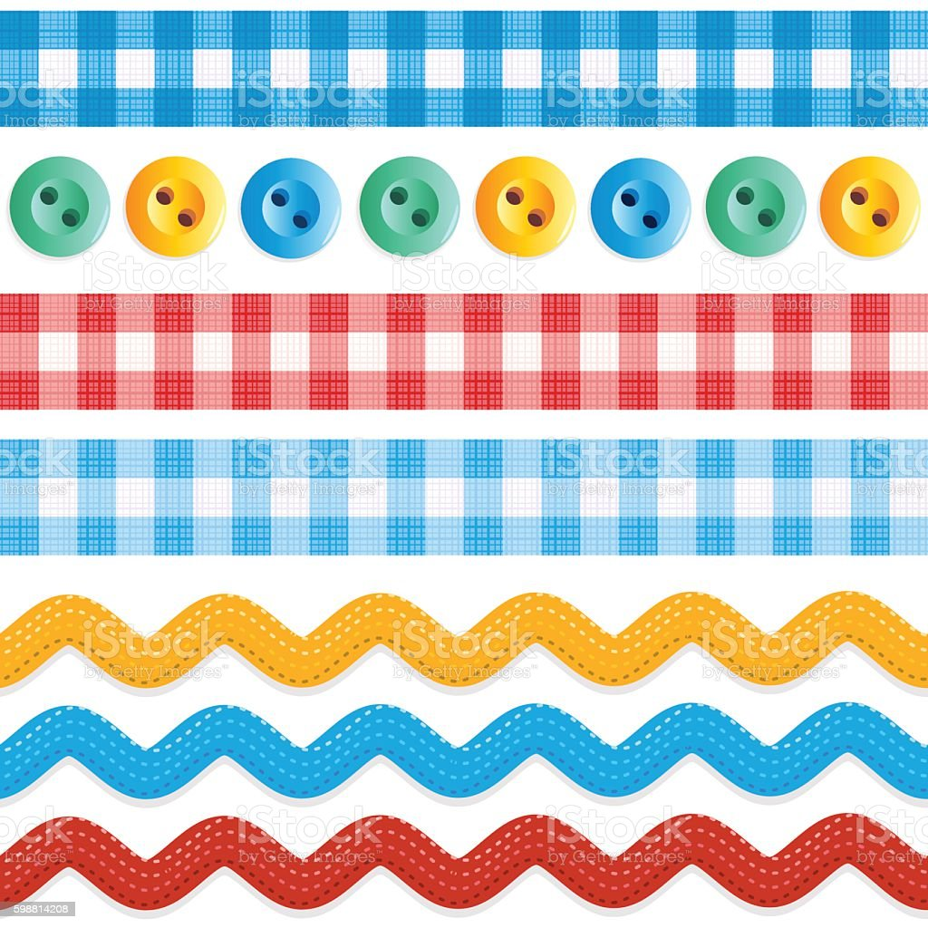 Seamless borders - gingham ribbons, ric racs, sewing buttons vector art illustration