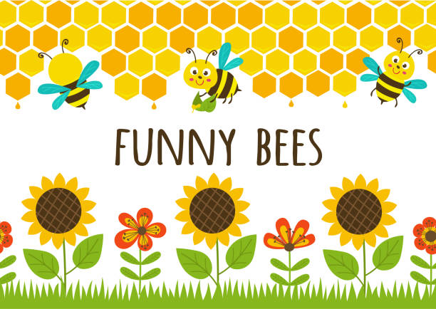 seamless borders grass and funny bees seamless borders grass and funny bees - vector illustration, eps bee borders stock illustrations