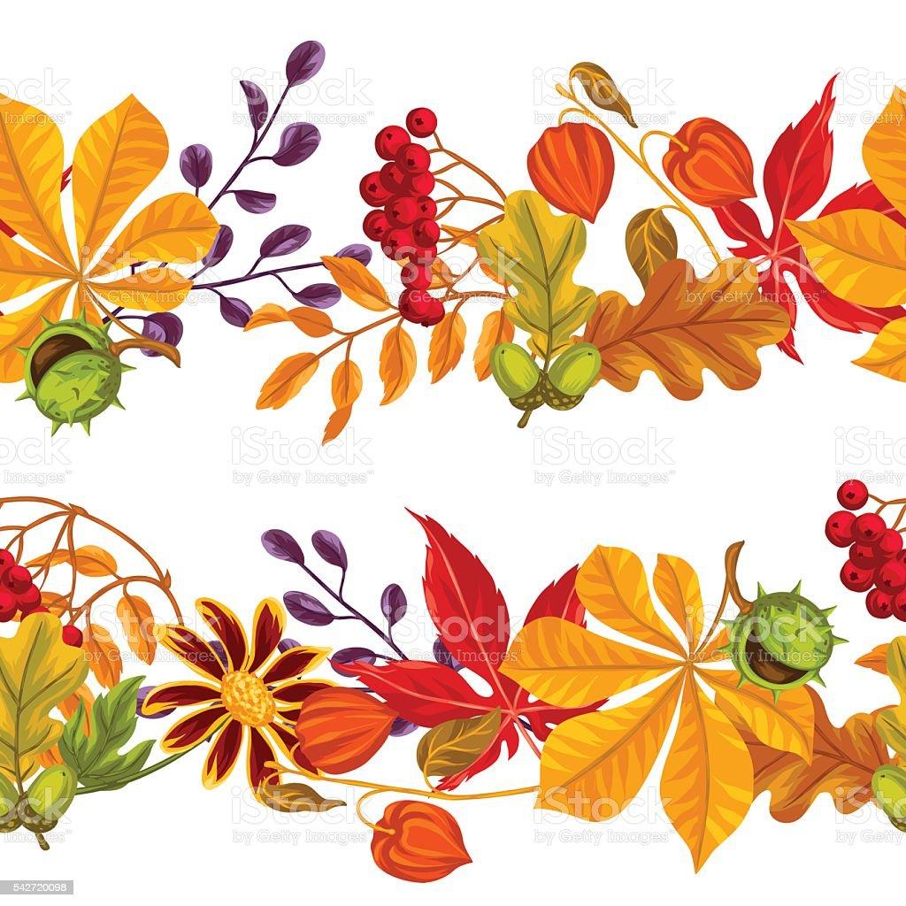 シームレスな縁に紅葉や植物ます背景に簡単 のイラスト素材 542720098