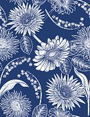 Seamless botanical Floral Pattern of daisies and lily of the valley. Hand drawn flowers in a detailed botanical drawing style. Repeats seamlessly. Ideal for backgrounds or fabric.
