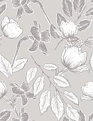 Seamless botanical Floral Pattern of Dogwood and Daffodils. Hand drawn flowers in a detailed botanical drawing style. Repeats seamlessly. Ideal for backgrounds or fabric.