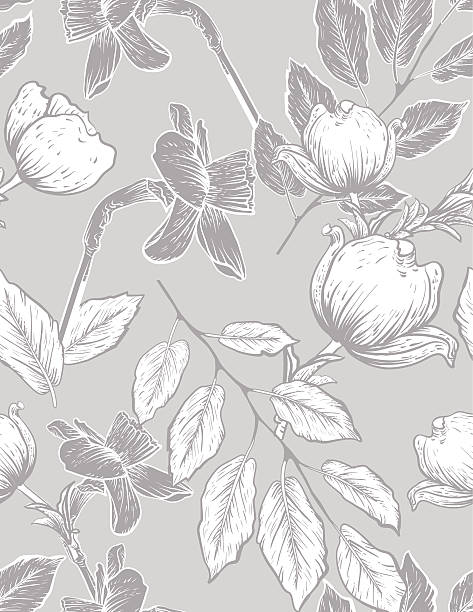 seamless botanical floral pattern dogwood and daffodils - flannel backgrounds stock illustrations, clip art, cartoons, & icons