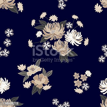 Beautiful asters, chrysanthemums and other garden flowers on black background. Oriental textile collection.