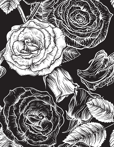 Seamless Botanical Roses Floral Pattern.