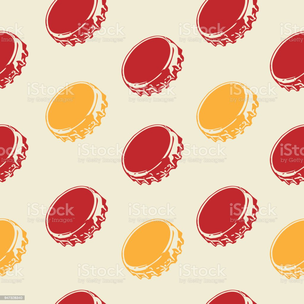 Seamless bottle caps pattern on pale background