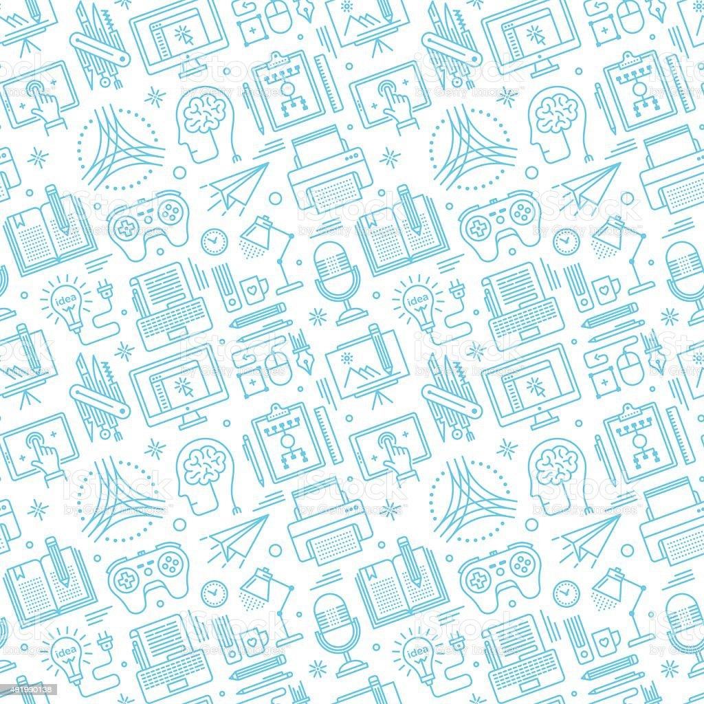 Seamless Brainstorming Pattern vector art illustration