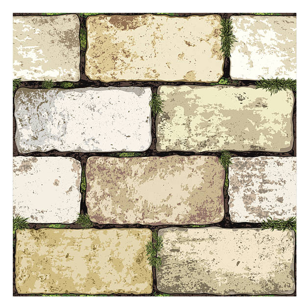 seamless brick wall background - moss stock illustrations