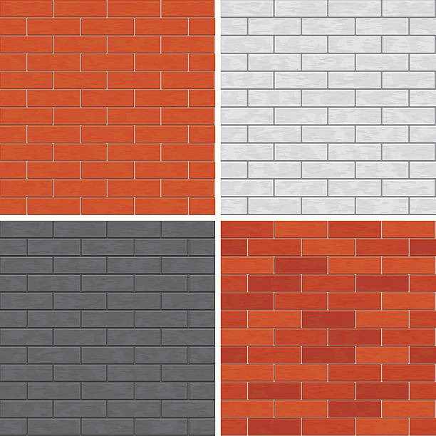 Seamless brick wall patterns. vector art illustration