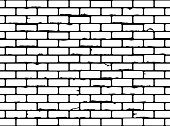 Seamless grunge brick wall texture. Realistic black and white brickwall background. Pattern for design. Vector illustration