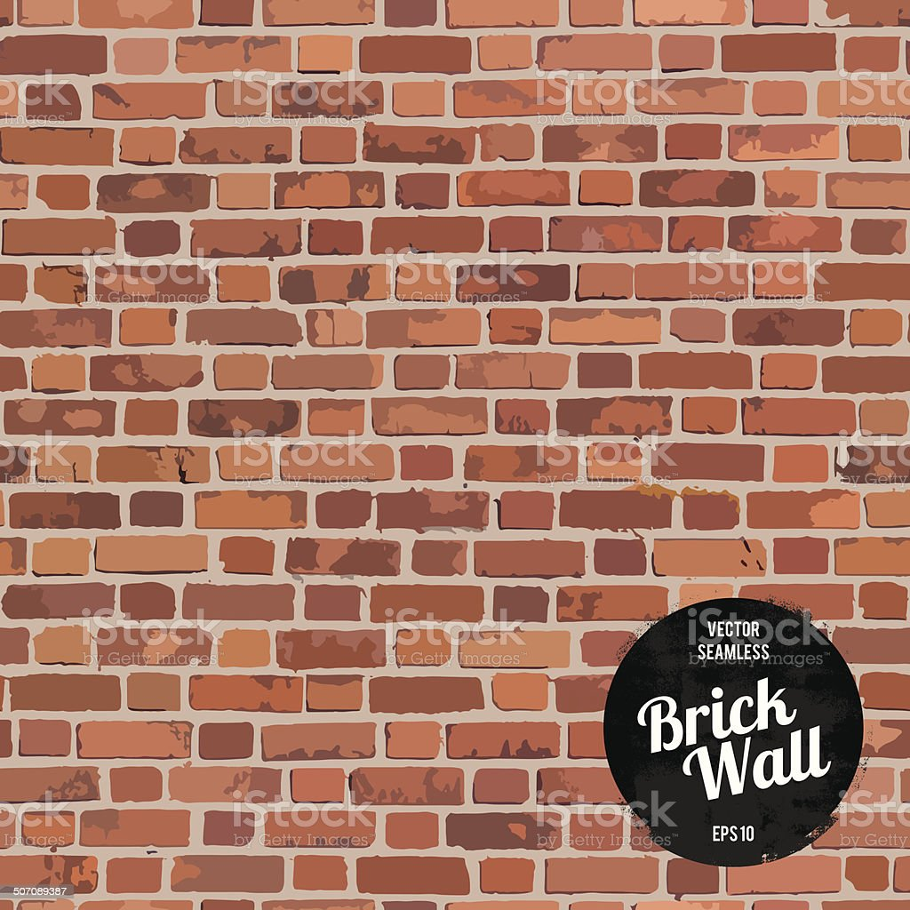 Seamless Brick wall vector art illustration