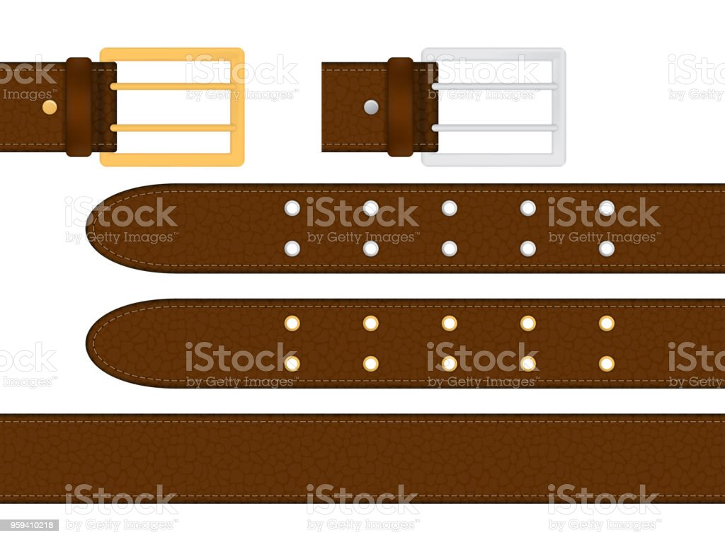 Seamless brown leather belt with metallic silver and golden buckle. Isolated vector illustration. vector art illustration
