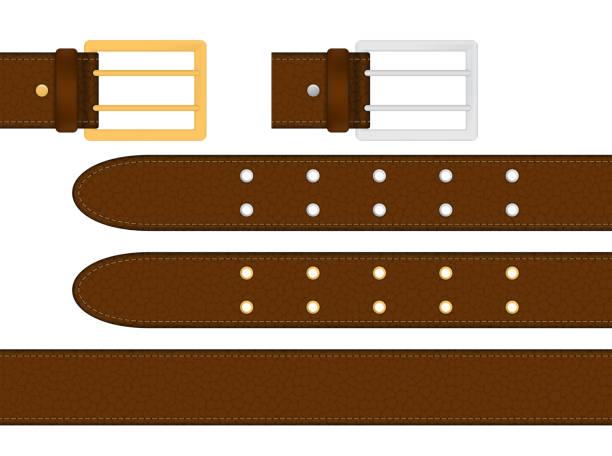 nahtlos braun ledergürtel mit metallischen silberne und goldene schnalle. vektor-illustration isoliert. - lederverarbeitung stock-grafiken, -clipart, -cartoons und -symbole