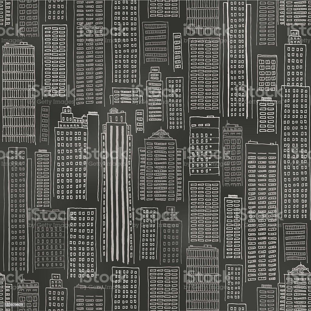 Seamless buildings blackboard background royalty-free stock vector art