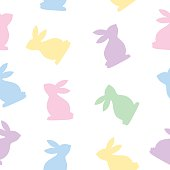 Vector seamless pattern of white bunnies on a white background.