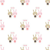 Happy Easter bunny isolated on white, valentines pattern with rabbits, flowers and lettering I love you for Valentines holiday, greeting background for any desing