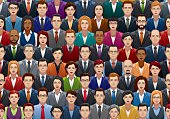Seamless vector illustration of business people crowd with 48 different faces.