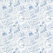 Seamless vector background contains doodle business plan drawings.