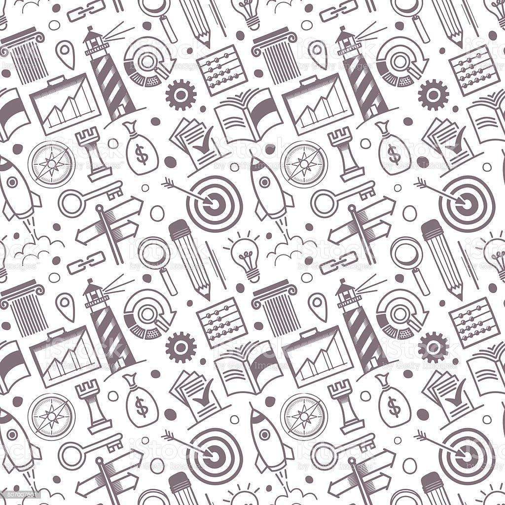 Seamless Business Symbols Pattern vector art illustration