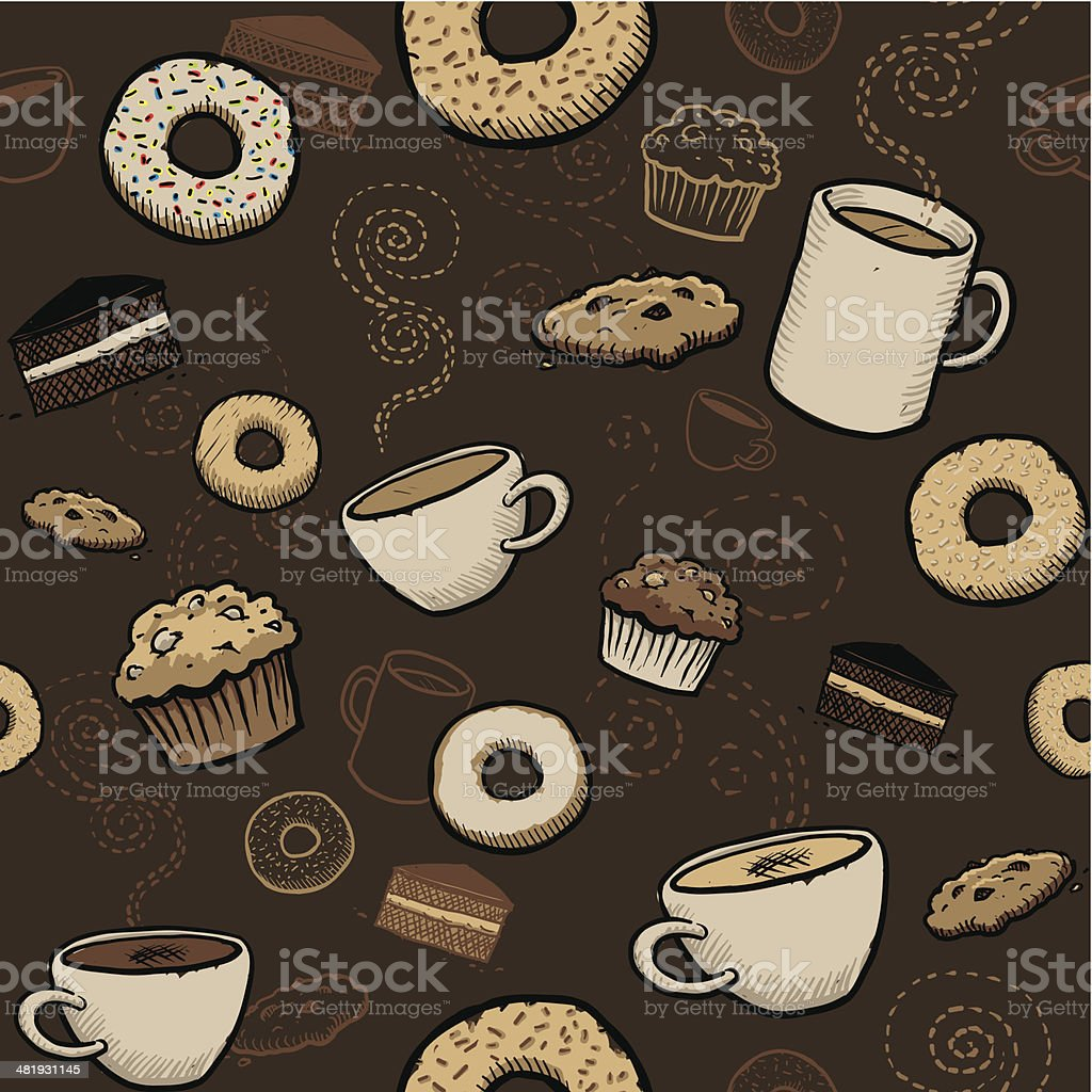 Seamless cafe wallpaper vector art illustration