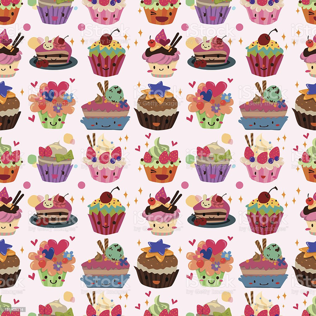 nahtlose kuchen muster lizenzfreies vektor illustration - Kuchen Muster