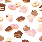 Seamless cake pattern.