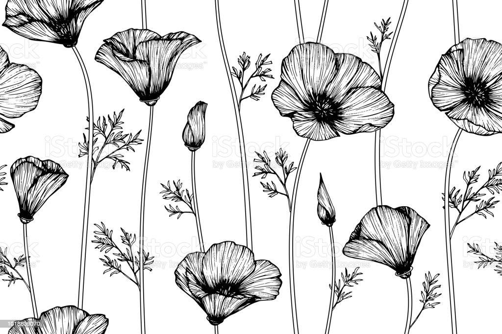 Seamless California Poppy Flower Pattern Background Black And