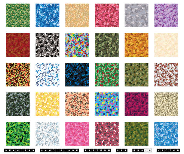 Seamless camouflage pattern vector set vector art illustration