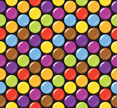 Seamless candy background pattern. Sugar coated candy on black background.