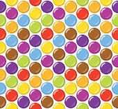 Seamless candy background pattern. Sugar coated candy on white background.
