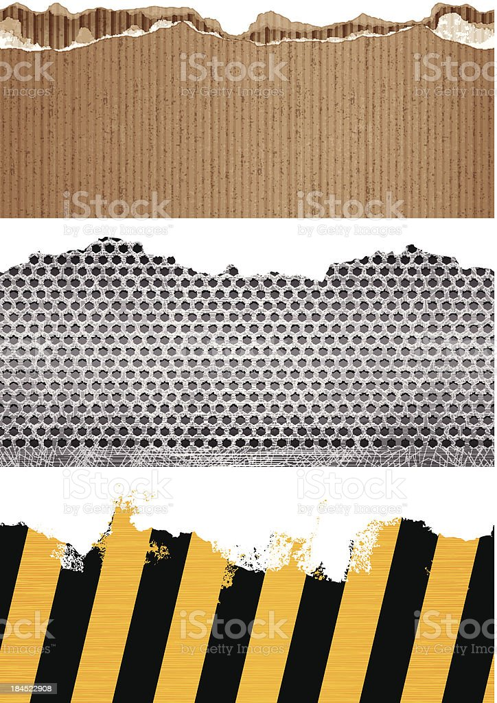 seamless carboard, metal and adhesive tape banners vector art illustration