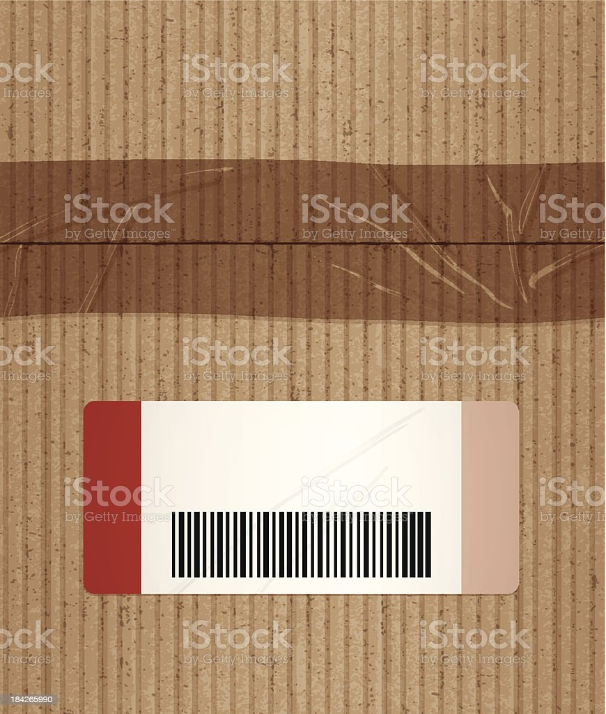 cardboard box with tape texture. seamless cardboard box with tape and label vector art illustration texture