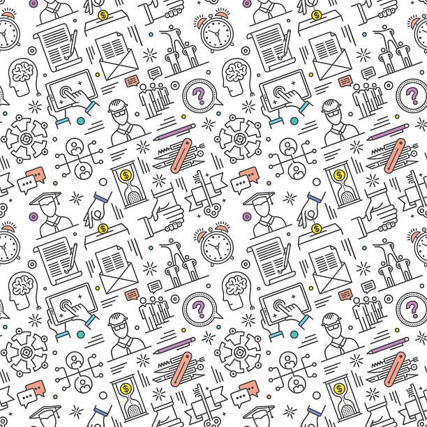 ilustraciones, imágenes clip art, dibujos animados e iconos de stock de patrón sin costuras de carrera - fondos escolares