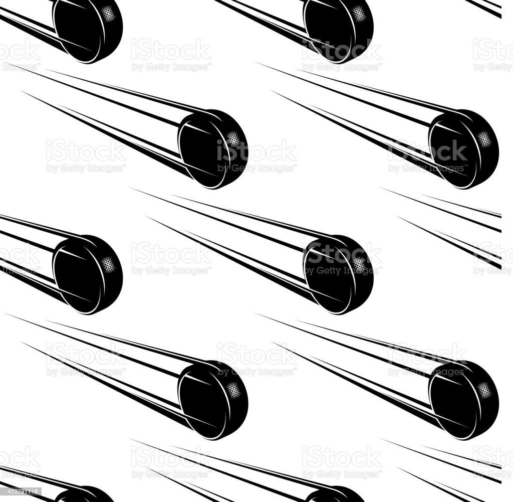 Seamless cartoon hockey pucks background vector art illustration