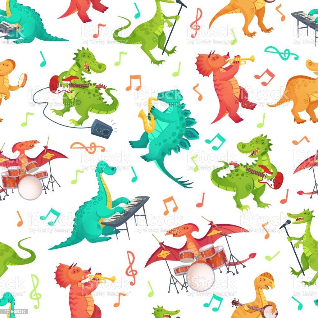 シームレスな漫画音楽の恐竜パターンディノバンド音楽楽器やロックスターティラノサウルスベクトルイラストを演奏かわいい恐竜 アコースティックギターのベクターアート素材や画像を多数ご用意 Istock