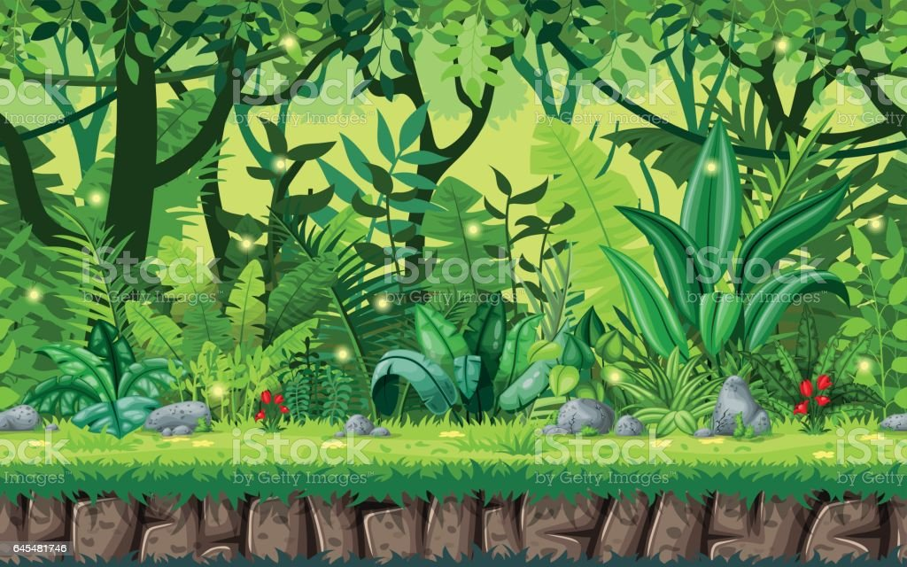 Seamless cartoon nature background. Vector illustration with separate layers. vector art illustration