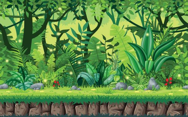 Seamless cartoon nature background. Vector illustration with separate layers. Seamless cartoon nature background. Vector illustration with separate layers. tropical rainforest stock illustrations