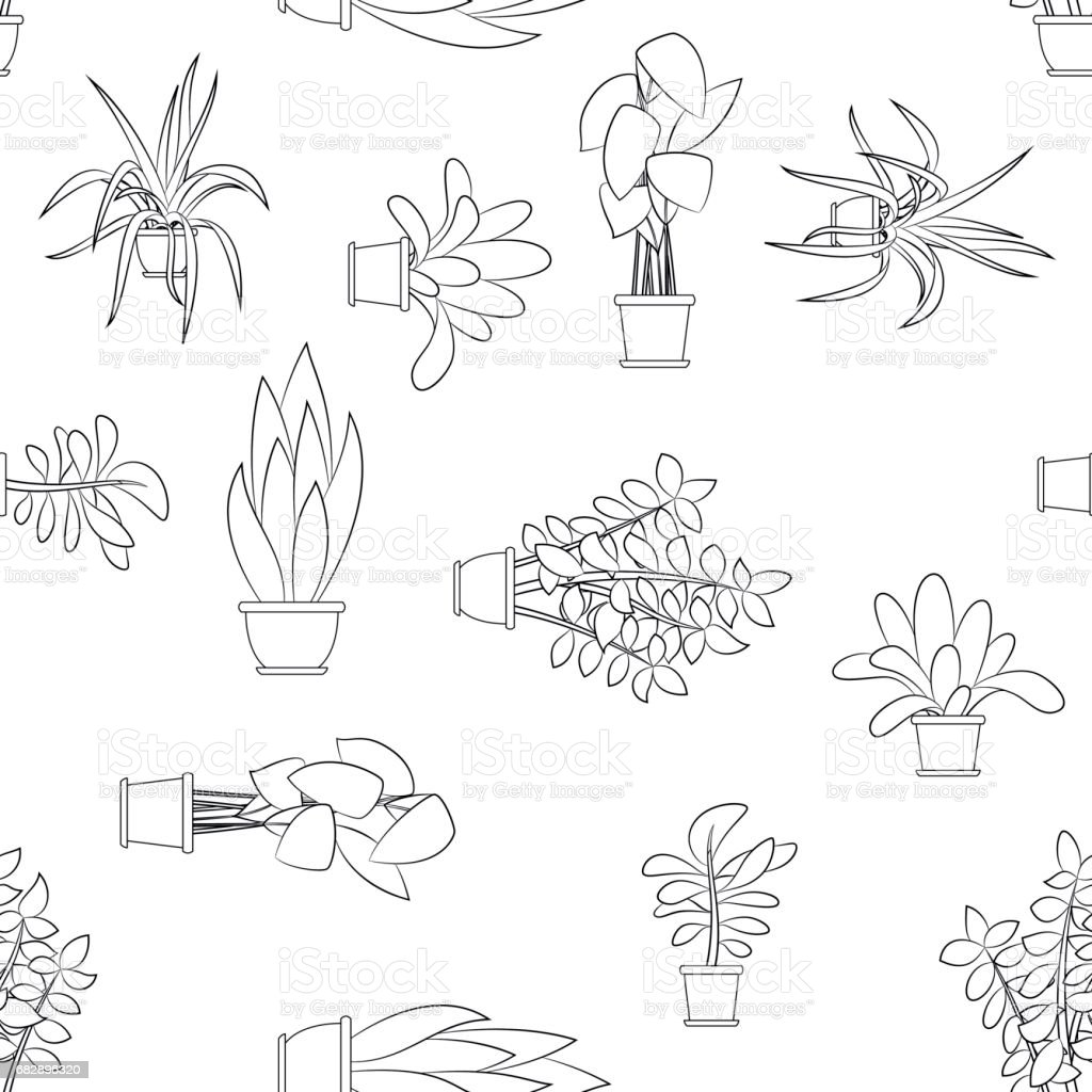 house plants drawing. seamless cartoon nature background with different house plants royaltyfree stock vector art drawing