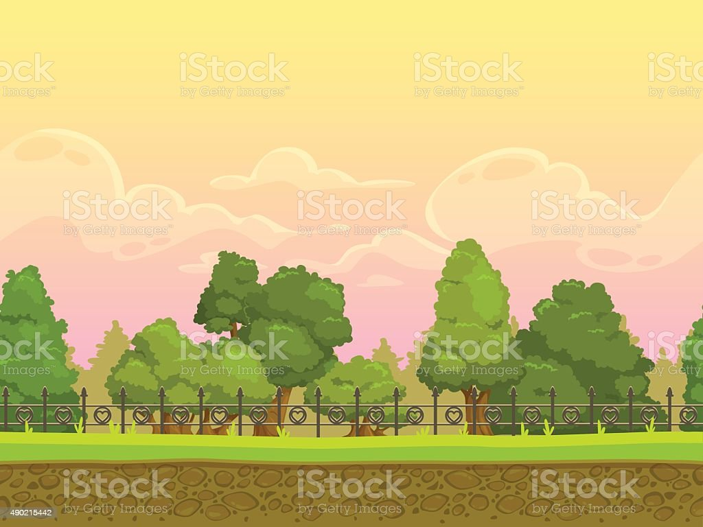 Seamless cartoon park landscape vector art illustration