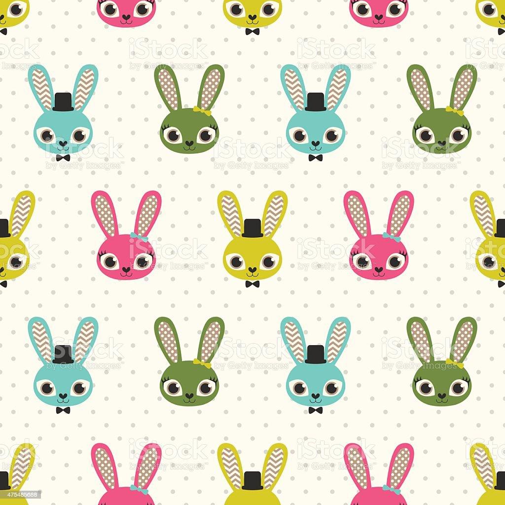 Ilustración de Patrón Sin Costuras De Dibujos Animados Conejos y más ...